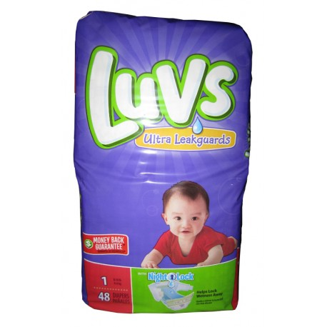 Luvs Diapers W/Night Lock Jumbo Pack 1 - 2/48's