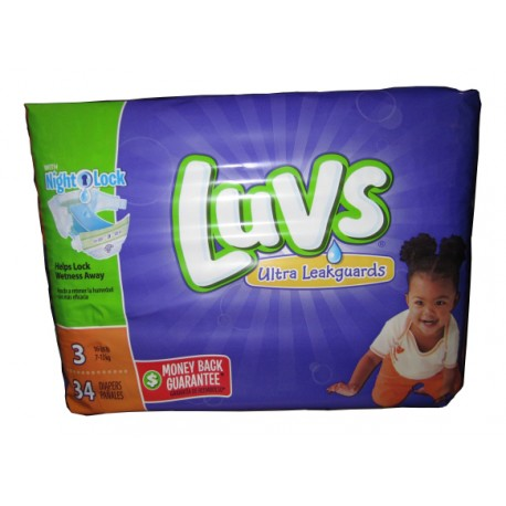 Luvs Diapers W/Night Lock Jumbo Pack 3 - 4/34's